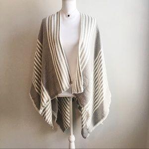 BP. Grey and White Striped Poncho